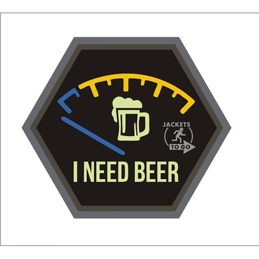 JTG I NEED BEER, Hexagon Patch, glow in the dark