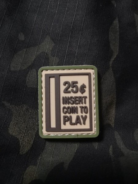 Insert Coin to play, green/ Patch 3D PVC (JTG)