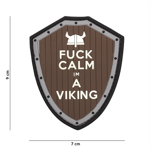 Fuck Calm Viking Patch, brown-grey / Patch 3D PVC (JTG)