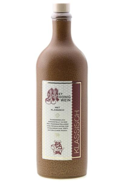 Tonflasche Honigwein - Met / mittelalterlich mit Holzgriff-Korken / 750 ml