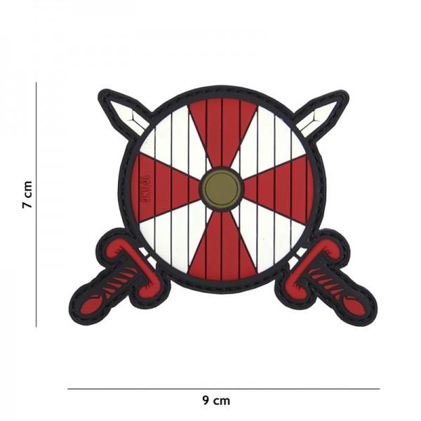Viking Shield, swords, red/white (JTG)