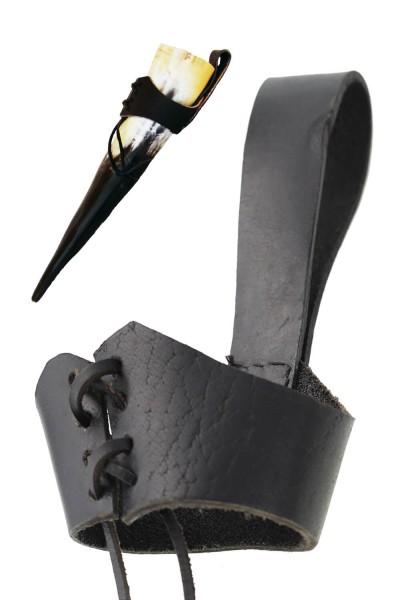 Gürtelhornhalter - Hornhalter aus Leder mit Gürtelschlaufe, M - Umfang ca. 19 - 24 cm