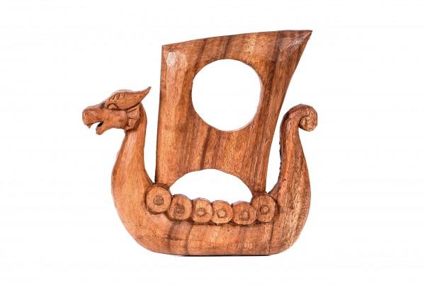 Viking Trinkhornständer - NORCAN - 17 cm - Drachenschiff - Handarbeit aus Holz