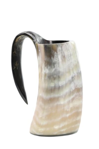 Hornbecher - Handwerk aus echtem Horn, geschliffen, poliert, lackiert, ca. 0,3 Liter   mit Henkel